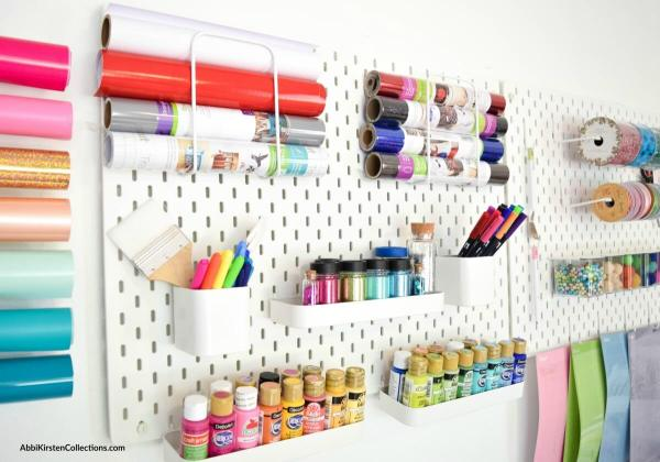 Pegboard for craft organization.