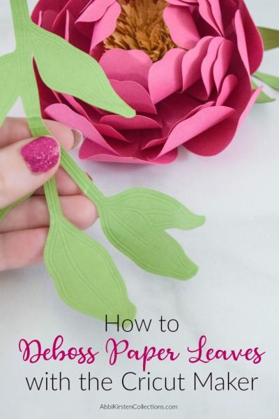 Making paper leaves with Cricut Maker deboss tool.