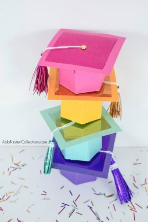 DIY graduation cap gift box with template and tutorial