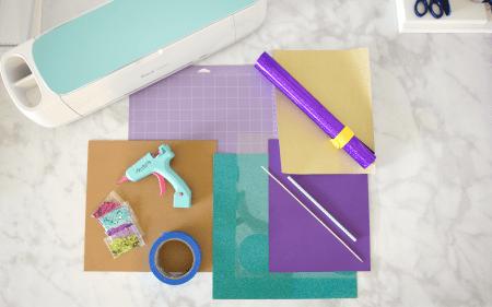 Supplies for DIY confetti cake topper