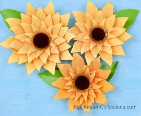 Paper sunflower backdrop decor