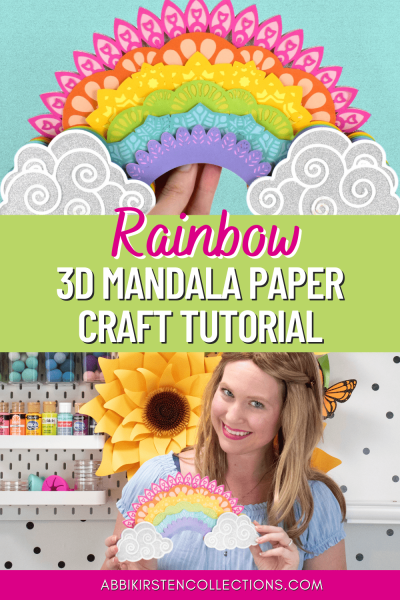 Create an easy and beautiful layered rainbow paper mandala craft using your Cricut, cardstock and some foam tabs. Download the rainbow mandala template and watch the step by step tutorial.