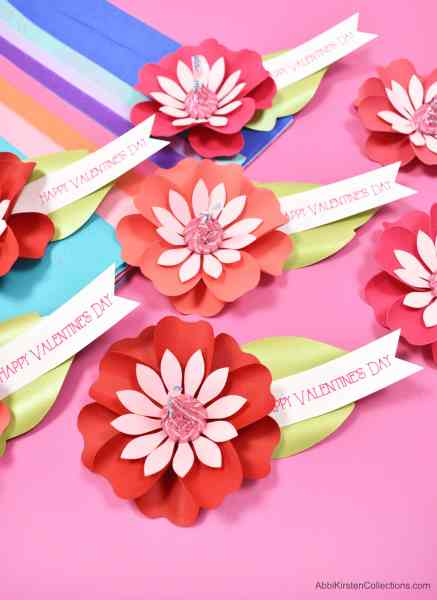 DIY Paper Flower Kiss Candy Valentines Craft - Free Printable Paper Flower Templates and Flower SVG Cut Files. Easy Valentines gifts for kids to make!
