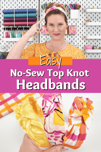 Create a collection of easy DIY top knot headband in no time with this simple headband tutorial and free printable and svg cut pattern.