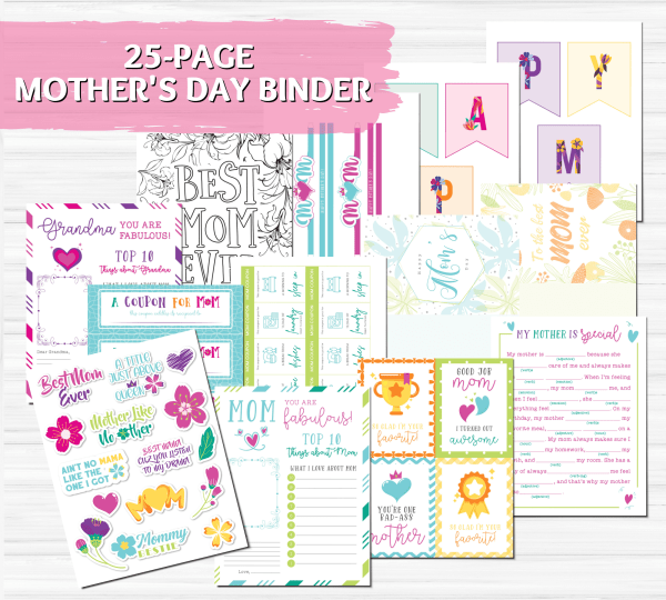 Mother's Day printable cards. Printable banner for Mother's Day decor. Mad libs for Mom. Stickers for Mother's day and more.