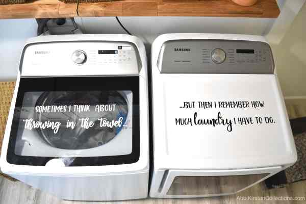 Laundry room vinyl decal.