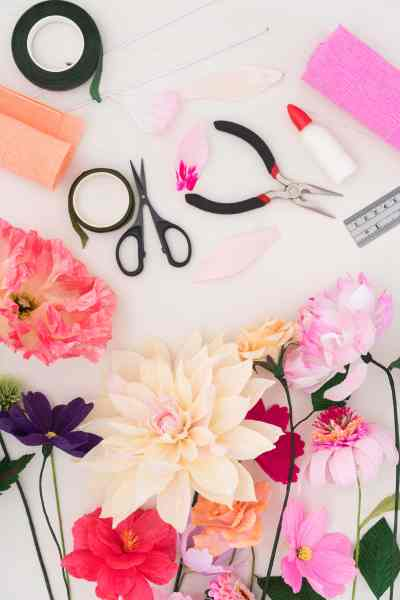 Supplies and DIY crepe flowers