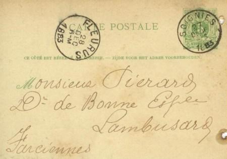 Charbonnage bonne Espérance 1883 verso