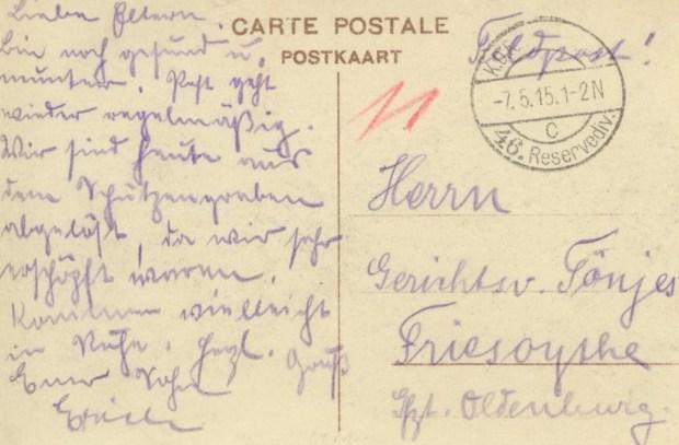 Feldpost Rapport du général verso 001