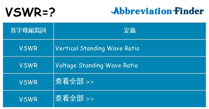 VSWR是什麼意思? - VSWR的全稱 | 在線英文縮略詞查詢