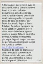 La hermana de una de las fallecidas en Madrid Arena hace un llamamiento para recuperar entradas
