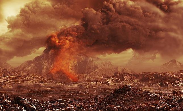 ESA/AOES Dibujo de volcán activo en Venus
