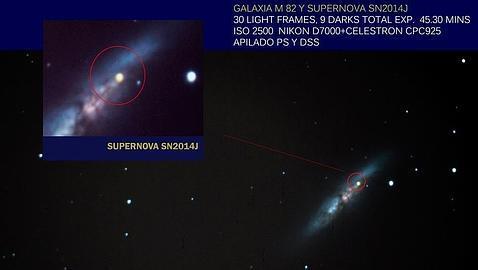Una explosión estelar en otra galaxia, visible con unos simples prismáticos