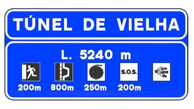 Nuevo cartel de acceso a los túneles