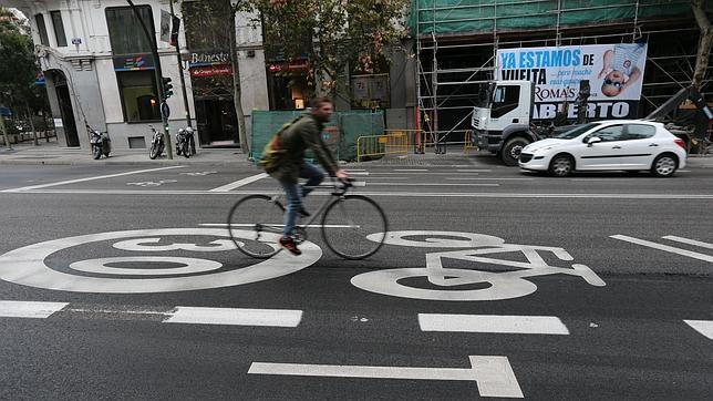 Ciclocarril en calle Génova (Madrid)