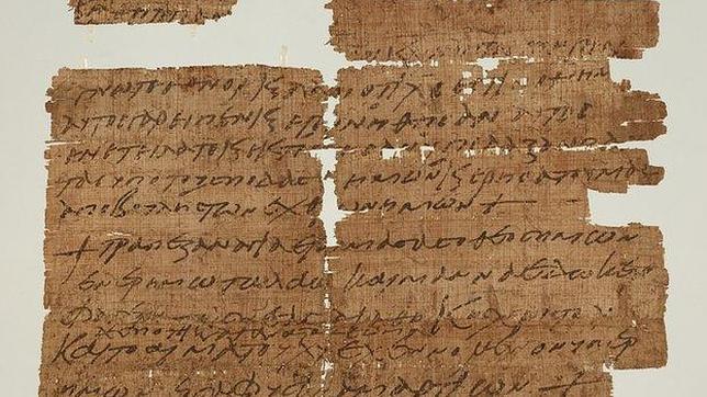 Vista del papiro encontrado en la Biblioteca de la Universidad