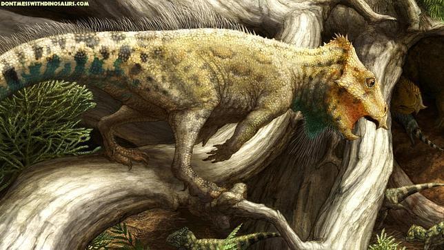 Descubren un dinosaurio con cuernos y morro picudo del tamaño de un cuervo