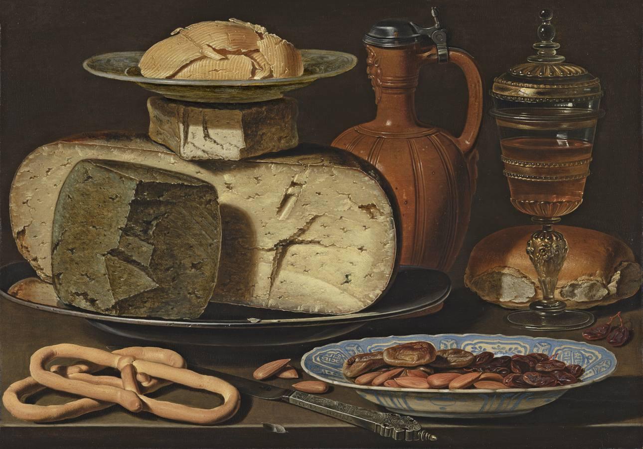 «Bodegón con quesos, almendras y panecillos» (c. 1612-1615), de Clara Peeters