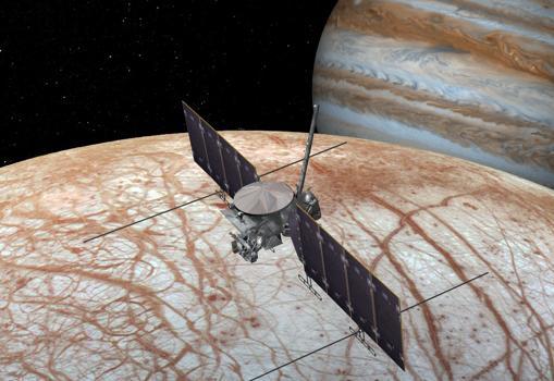 Concepto de la misión «Europa Clipper», que orbitará Júpiter para sobrevolar Europa en busca de sus condiciones de habitabilidad