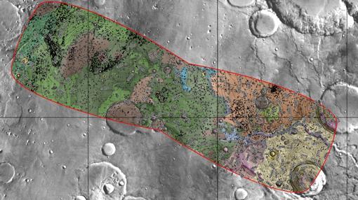 Mapa del terreno de Oxia Planum