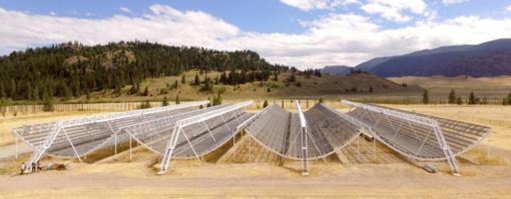 El radiotelescopio CHIME, en la Columbia Británica (Canadá)