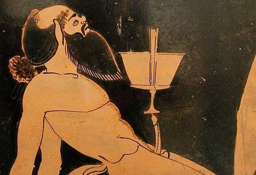 Representación de un sátiro en una cerámica griega