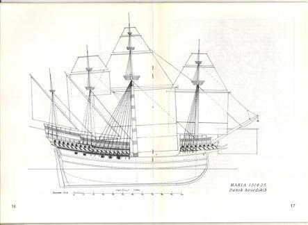 Dibujo del María, barco gemelo del Engelen. Realizado por Niels Probst