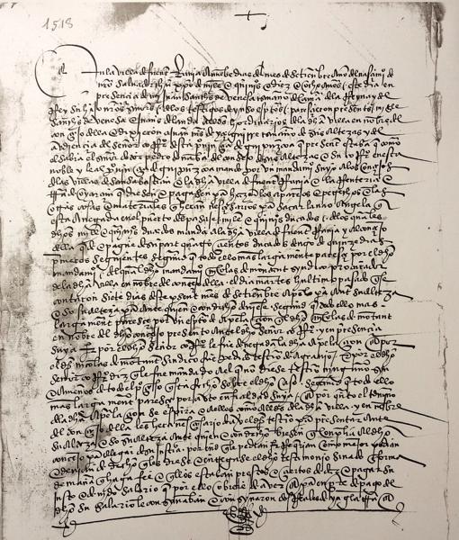 Uno de los documentos del pleito de Fuenterrabía contra Carlos V