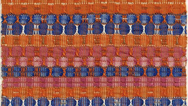«Capas azules y rojas» (1954), uno de los «tejidos pictóricos» de Anni Albers