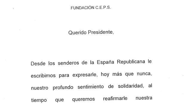 Encabezamiento de la carta enviada a Hugo Chávez