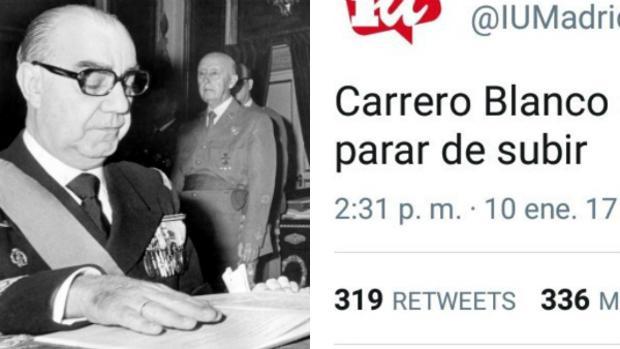 A la izquierda, Carrero Blanco; a la derecha, el polémico tuit