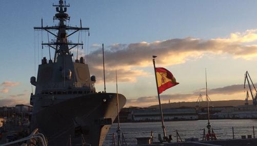 La fragata «Almirante Juan de Borbón», en su base de Ferrol