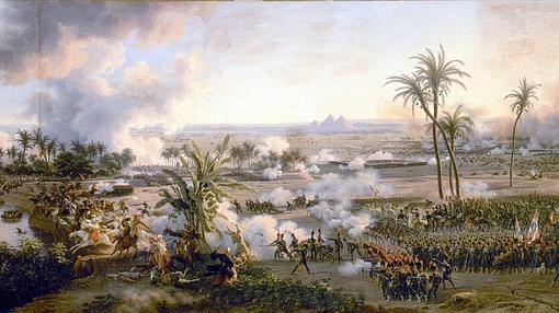 Pintura de Louis-François Lejeune sobre la batalla de las Pirámides