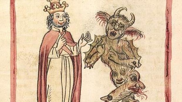 Silvestre II y el Diablo en una ilustración de 1460