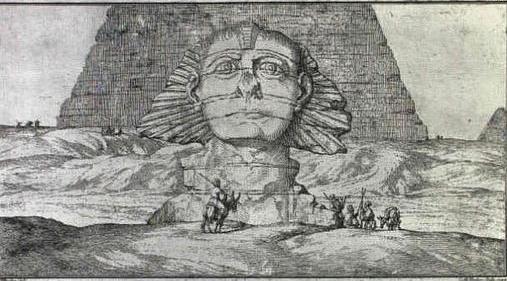 Dibujo del arquitecto danés Frederick Lewis Norden, en 1737, de la Esfinge sin nariz