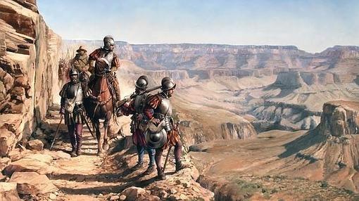 López de Cárdenas se asoma al enorme tajo (el Cañón del Colorado)