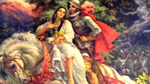 La Malinche, junto a Cortés