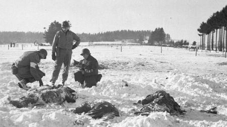 Restos de los soldados estadounidenses en Malmedy