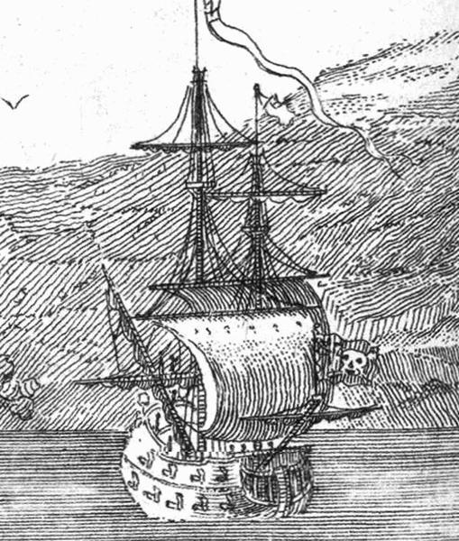 Ilustración del siglo XVIII que muestra al buque insignia de «Barbanegra»