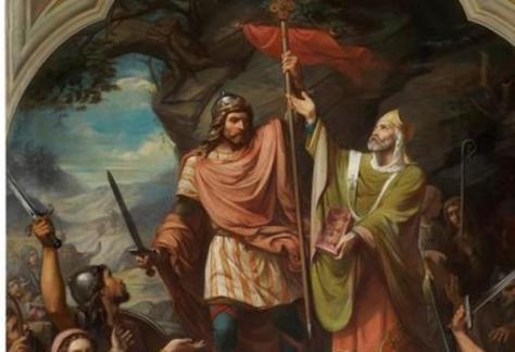 Don Pelayo en Covadonga, pintura de Luis Madrazo expuesta en el Museo del Prado