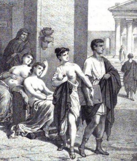 Representación de un prostíbulo romano