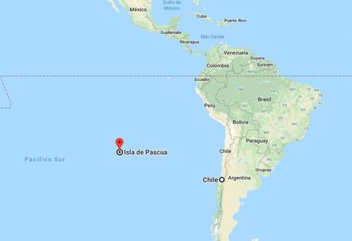 Ubicación de la Isla de Pascua, Pacífico Sur