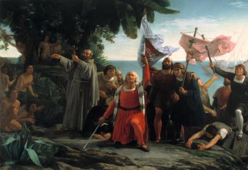 Primer desembarco de Cristóbal Colón en América (Dióscoro Puebla, 1862)