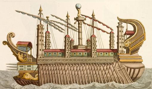 Ilustración del siglo XVIII de una nave como las de Calígula.