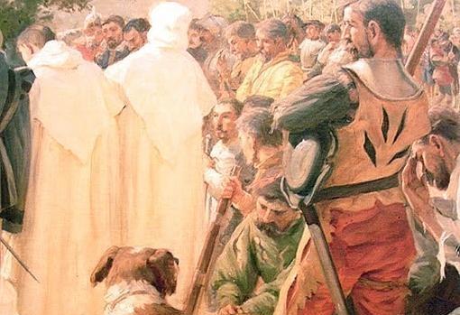 Un conquistador, junto a su can
