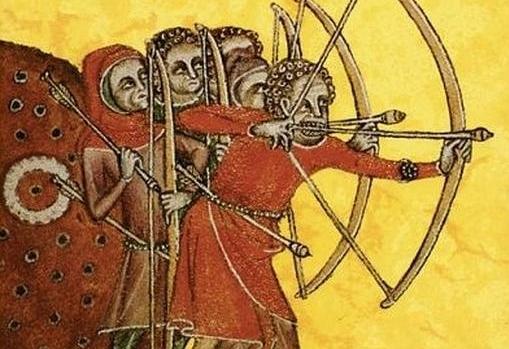 Arqueros ingleses equipados con arco largo