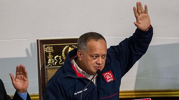 El presidente de la Asamblea Nacional (AN) Diosdado Cabello, participa en una sesión del organismo