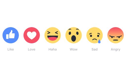 Botones de reacciones de la red social