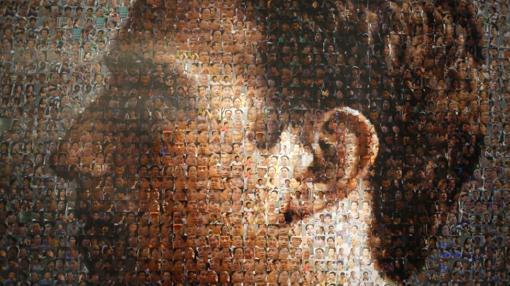 El retrato del fundador de la red social Facebook, Mark Zuckerberg, formado por los rostros de una multitud de personas de China