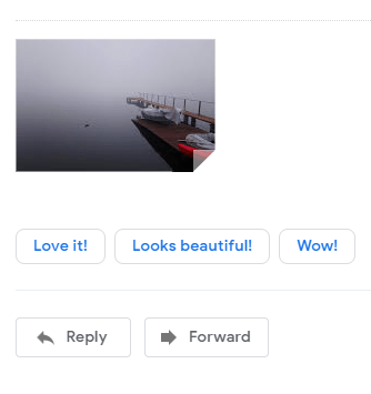 A screenshot of a Gmail screen including a photograph and three responses: Love it! Looks Beautiful! Wow!